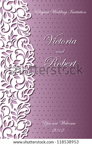 Stylish Wedding Invitation. Abstract floral-lace design - stock vector