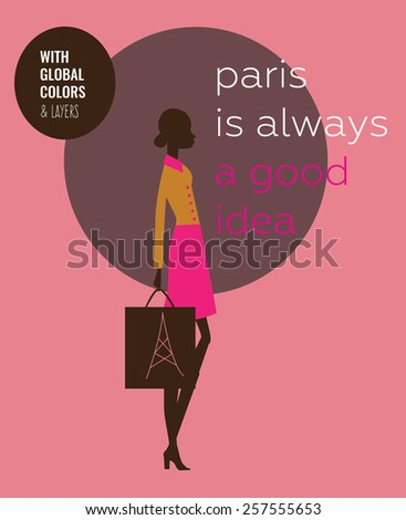Stylish woman shopping bag in Paris Vector illustration Eps10 file. Global colors & layers. - stock vector