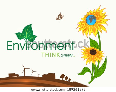 Stylish World Environment Day concept with illustration of urban city, sunflowers and green leaves.  - stock vector
