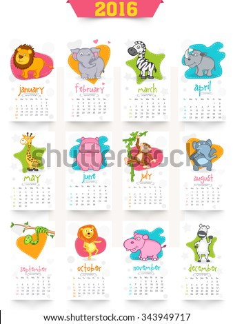 Stylish 2016 Yearly Calendar design with wild animals for Happy New Year celebration. - stock vector