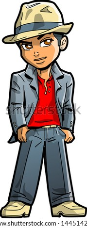 Stylish Young Ethnic Man With Suit, Fedora and Collar Up - stock vector