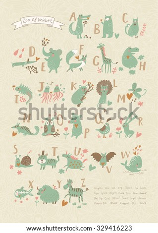 Stylish zoo alphabet in vector. Lovely animals with english letters and names. Best abc-poster in sweet colors for children preschool education - stock vector