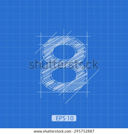 """stylized architectural plan of the figure """"eight"""" on a blue background - stock vector"""