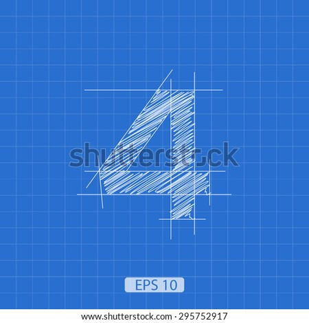 """stylized architectural plan of the figure """"four"""" on a blue background - stock vector"""