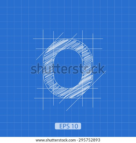 """stylized architectural plan of the figure """"zero"""" on a blue background - stock vector"""