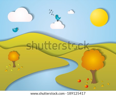 Stylized autumn landscape with trees, clouds, birds, butterflies, flowers and mountains - stock vector