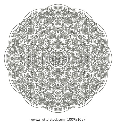 Stylized Aztec Calendar in gray color, vector illustration - stock vector