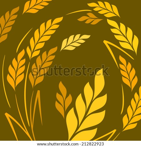 Stylized background ears of wheat on dark, vector illustration - stock vector