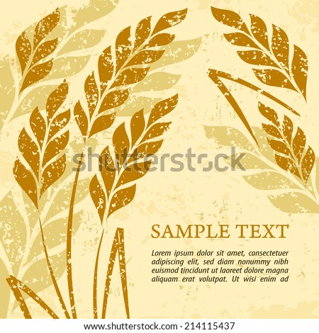 Stylized background ears of wheat on grange, vector illustration - stock vector
