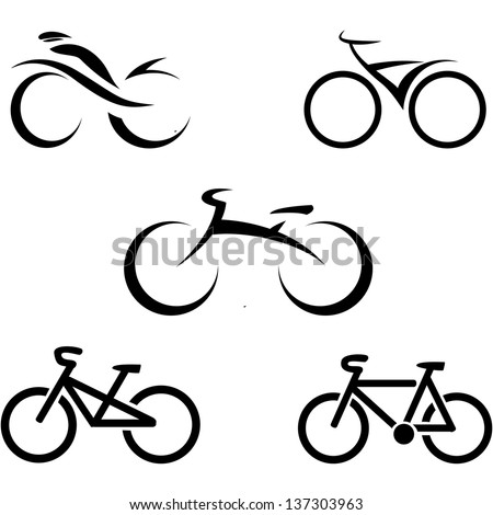 stylized bicycle, vector illustration  - stock vector