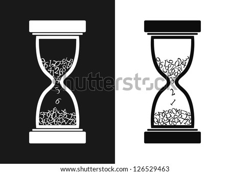 Stylized black and white hourglass - vector illustration - stock vector