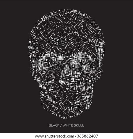 Stylized Bony skeleton of the face and the anterior part of the skull, design element, vintage illustration in pointillism style - stock vector
