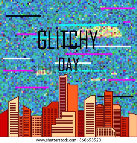 stylized business background with modern city and glitch sky - stock vector
