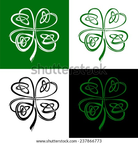 Stylized Celtic shamrock clover St. Patrick set - stock vector