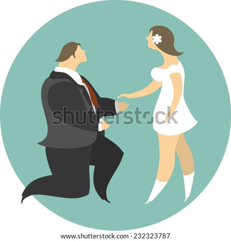 stylized characters man on his knee does offer women - stock vector