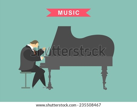 Stylized characters playing the piano man standing next to a woman and sings - stock vector
