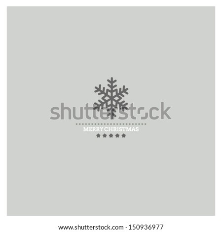 Stylized Christmas and New Year card with snowflake - stock vector