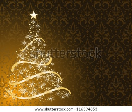 stylized Christmas tree on decorative damask background - stock vector