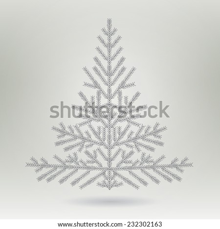 stylized Christmas tree. Simple christmas tree made in vector. Merry Christmas celebration poster banner or flyer design with fir tree. Engraving of Christmas trees. New year concept design - stock vector