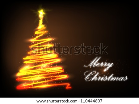 Stylized Christmas tree with lights and decorations on a dark background - stock vector