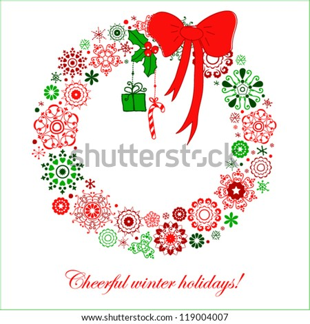 Stylized Christmas wreath from snowflakes - stock vector