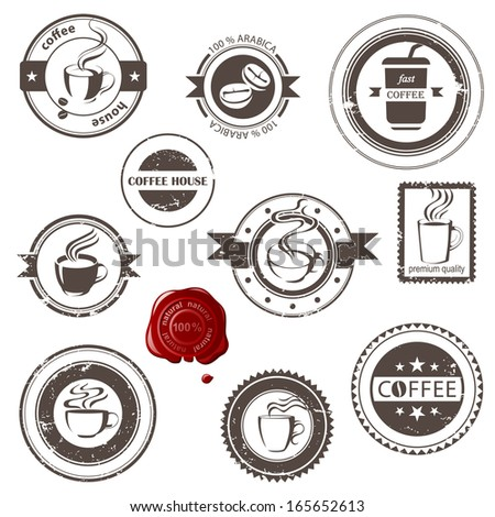 Stylized coffee stamps set - stock vector