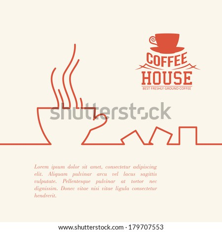 Stylized drawing of a cup of coffee. Vector illustration. - stock vector