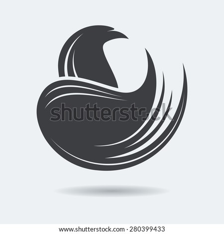 Stylized Eagle or Phoenix icon in grey color with circle composition. Vector illustration. Works well as a tattoo, icon, emblem, print or mascot. - stock vector