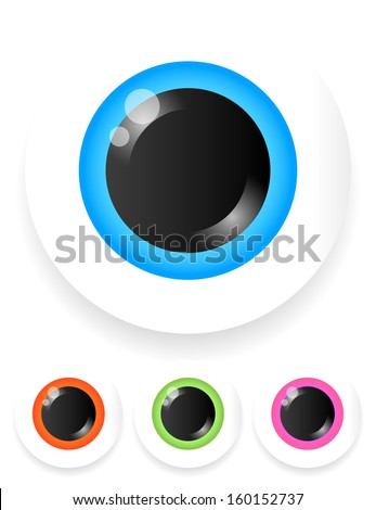 Stylized eye vector icons with reflections and transparent shadow (no blends) - stock vector