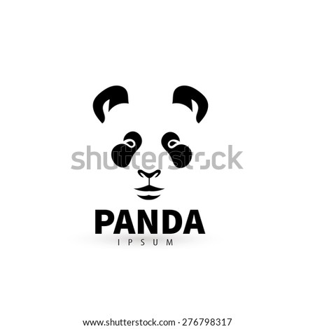 Stylized face panda logo design template. Artistic animal silhouette. Creative concept logotype for your company. Vector illustration. - stock vector