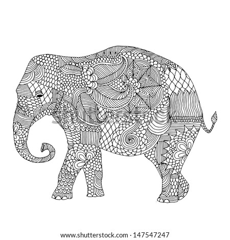 Stylized fantasy patterned elephant. Hand drawn vector illustration with floral elements. Original hand drawn elephant.  - stock vector