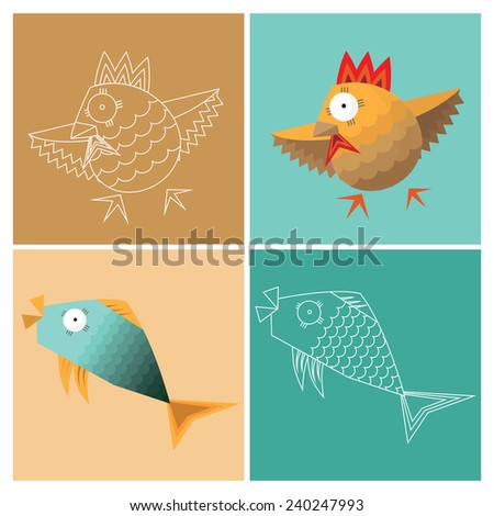 stylized fish and poultry, the image and the contour - stock vector