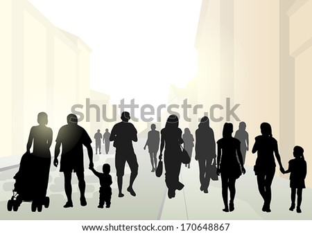 Stylized flat silhouettes of pedestrians in the street in bright sunshine - stock vector