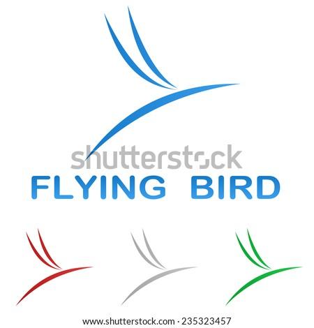 Stylized flying bird logo design set - stock vector