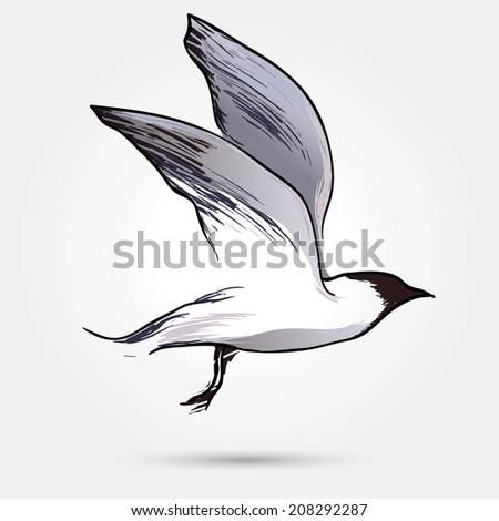 stylized flying bird (seagull) - a symbol, emblem, concept of flight, freedom - vector illustration - stock vector