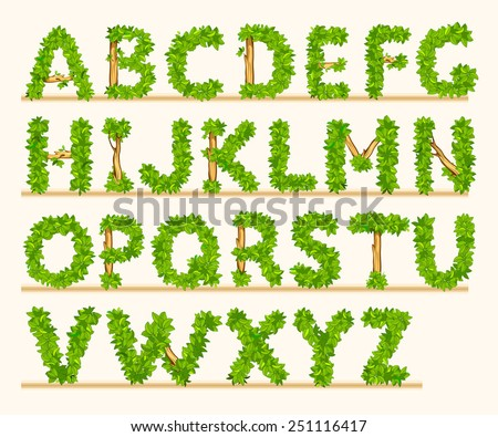 Stylized font of green leaves and branches - stock vector