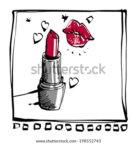 stylized freehand calligraphic ink line primitive drawing of lipstick, on white - stock vector