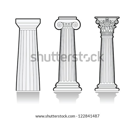 Stylized Greek columns - stock vector