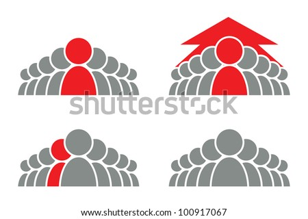 Stylized group of people and arrow. Vector icon. - stock vector