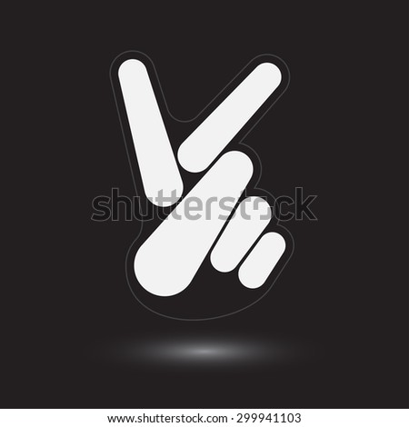 Stylized Hand Logo with Victory Sign Fingers on Black - stock vector