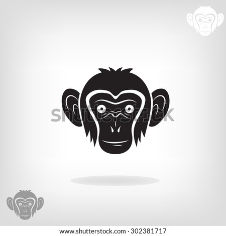 Stylized head of a monkey on a light background. Logo design for the company. - stock vector