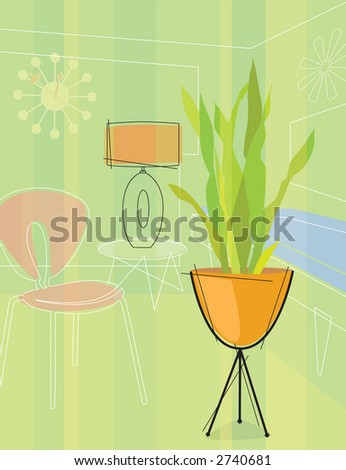 Stylized Home Interior - stock vector
