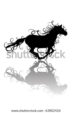 stylized horse silhouette - stock vector