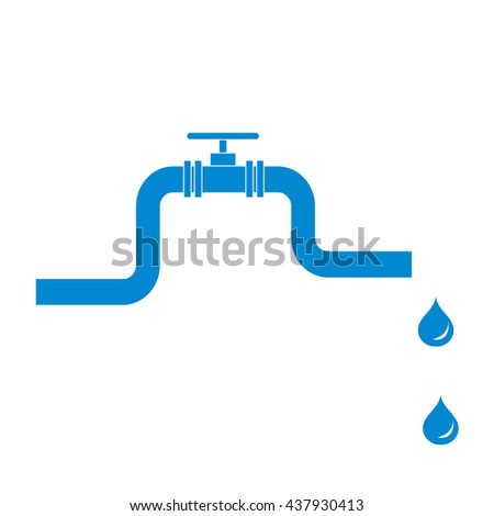 Stylized icon of the pipe with a valve and fuel drops on a white background - stock vector