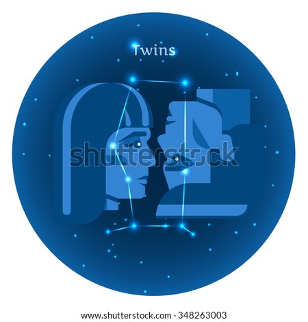 Stylized icons of zodiac signs in the night sky with zodiac bright stars constellation in front. Astrology symbol. Vector flat illustrations. Twins zodiac sign. - stock vector