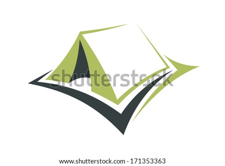 Stylized illustration of a small portable green tent logo with an opening in the front for enjoying an eco holiday out in nature - stock vector