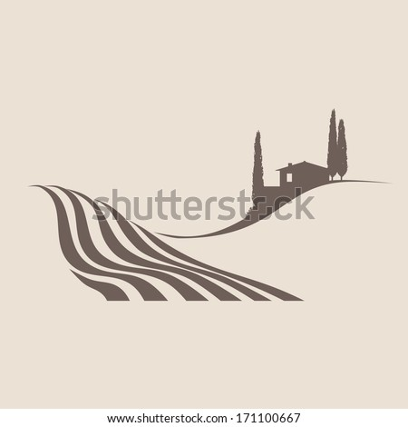 stylized illustration of a typical rural landscape in Tuscany - stock vector