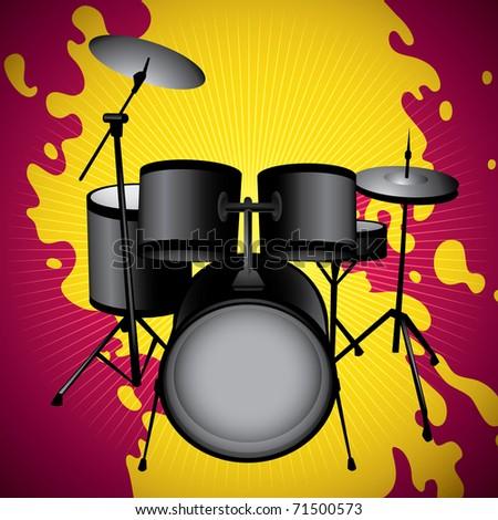 Stylized illustration of drum set. Vector illustration. - stock vector