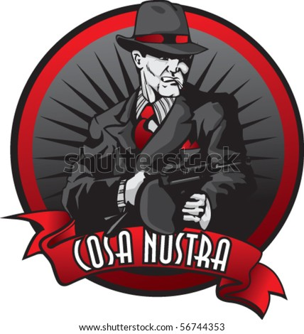 Stylized illustration of mobster in burst. - stock vector