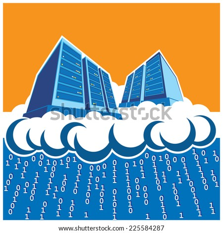 stylized illustration on the theme of cloud computing, render farms, data centers, storage, servers, high-performance workstations, networks, etc. - stock vector